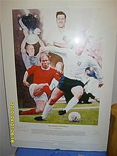 Signed Limited Sir Bobby Charlton Football Print - Limited Edition