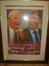 Signed and Framed Print of Sir Alex Ferguson and Sir Matt Busby.  Signed by Artist