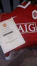 Signed Rio Ferdinand Manchester United Shirt and Red Reward Certificate