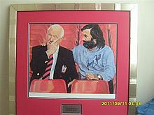 Signed George Best & Sir Matt Busby Picture. RARE ITEM
