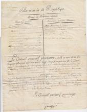 (Histoire) - Etienne CLAVIERE (1735-1793) - Brevet de lieutenant-colonel (1793)