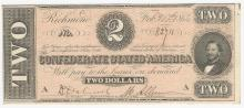 1864 $2 Confederate States of America Note UNC