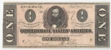 1864 $1 Confederate States of America Note AU