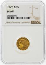 1929 $2 1/2 Indian Head Quarter Eagle Gold Coin NGC MS64