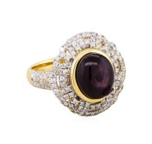 14KT Yellow Gold 7.34ct Unheated Star Ruby and Diamond Ring