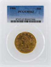 1900 $10 Liberty Head Eagle Gold Coin PCGS MS63