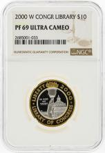 2000-W $10 Library of Congress Gold & Platinum Coin NGC Graded PF69 Ultra Cameo