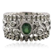 14KT White Gold 0.32ct Emerald and Diamond Ring