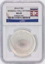2014 Baseball HOF NGC Graded MS69 $1 Silver Coin Hall of Fame