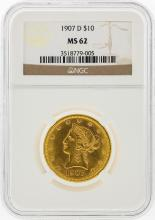 1907-D $10 Liberty Head Eagle Gold Coin NGC Graded MS62