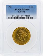 1907 $10 Liberty Head Eagle Gold Coin PCGS MS62+