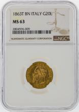 1863T BN Italy 20 Lire Gold Coin NGC Graded MS63