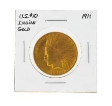 1911 $10 Indian Head Gold Coin
