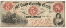 1850s $5 The Kean County Bank Obsolete Bank Note