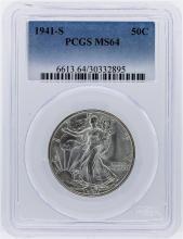 1941-S Liberty Walking Half Dollar PCGS Graded MS64