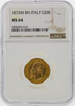 1873M BN Italy 20 Lire Gold Coin NGC Graded MS64