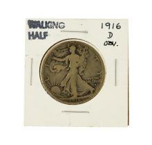 1916-D Obverse Walking Liberty Half Dollar