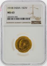 1918I 1 Sovereign India Gold Coin NGC MS63