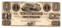 1800s $1 The Tecumseh Bank Obsolete Bank Note