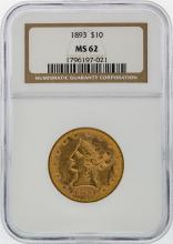1893 $10 Liberty Head Gold Coin NGC Graded MS62