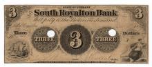 1854 $3 South Royalton Bank Obsolete Note
