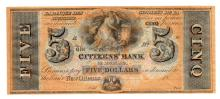 1800's $5 New Orleans Louisiana Citizens Bank Note