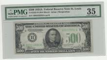1934A $500 Federal Reserve Note St. Louis PMG Choice VF35