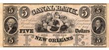 1800's $5 New Orleans Louisiana Canal Bank Note