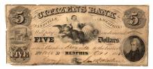 1855 $5 Citizens Bank Nashville & Memphis Obsolete Bank Note