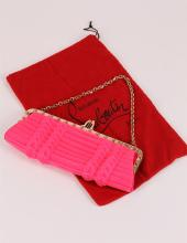 Authentic Christian Louboutin Hot Pink Silk Clutch Bag