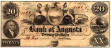1800s $20 State of Georgia Bank of Augusta Obsolete Currency Note