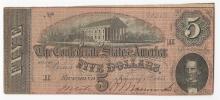 1864 $5 Confederate States of America Note