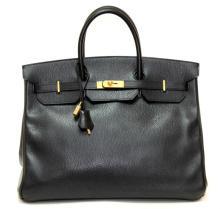 Authentic Vintage Hermes 40cm Birkin Bag in Black Ardenne Leather with Gold Hard
