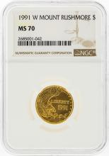 1991-W $5 Mount Rushmore Gold Coin NGC Graded MS70