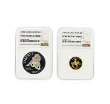 Civil War Commem 1995-W $5 Gold & 1995-S $1 Silver Coin Set NGC  PF 69 Ultra Cam
