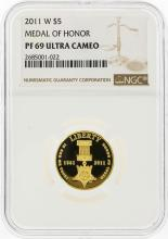 2011-W $5 Medal of Honor Gold Coin NGC Graded PF69 Ultra Cameo