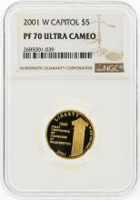 2001-W $5 Capitol Gold Coin NGC Graded PF70 Ultra Cameo