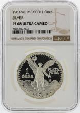 1983MO Mexican Libertad Silver Coin NGC PF68 Ultra Cameo