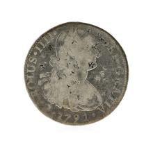 1791 8 Reales Mexico Spanish Colonial Silver Coin
