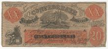 July 25th, 1861 $20 Confederate States of America COUNTERFEIT Note