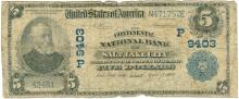 1902 $5 National Currency Bank Note Salt Lake City, Utah