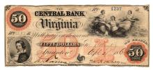 1860 $50 The Central Bank of Virginia Obsolete Note