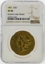 1851 $20 Liberty Head Double Eagle Gold Coin NGC XF40 Granite Lady Hoard
