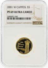 2001-W $5 Capitol Gold Coin NGC Graded PF69 Ultra Cameo