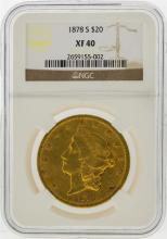 1878-S $20 Liberty Head Double Eagle Gold Coin NGC XF40