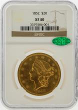 1852 $20 Liberty Head Double Eagle Gold Coin NGC XF40 CAC