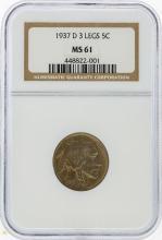 1937-D 3 Legged Buffalo Nickel NGC Graded MS61