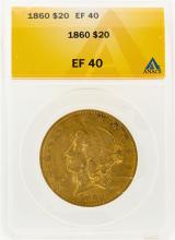 1860 $20 Liberty Head Double Eagle Gold Coin ANACS EF40