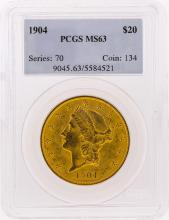 1904 $20 Liberty Head Double Eagle Gold Coin PCGS Graded MS63