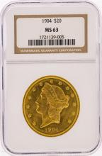 1904 $20 Liberty Head Double Eagle Gold Coin NGC Graded MS63